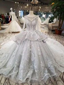 2020 Silver Wedding Dresses Ball Gown Long Sleeves Royal Train Top Quality Lace With Applique & XHMPST14631
