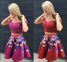 Load image into Gallery viewer, Two Pieces Burgundy Satin Off the Shoulder Homecoming Dresses with XHMPST14269