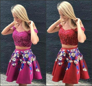 Two Pieces Burgundy Satin Off the Shoulder Homecoming Dresses with XHMPST14269