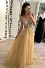 Load image into Gallery viewer, Simple A Line Tulle Beads V Neck Straps Backless Prom Dresses Long Evening Dresses XHMPST14942