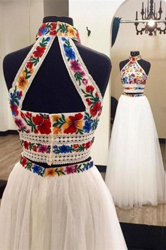 Two Pieces Embroidery Prom Dresses Unique Halter Open Back Formal Dress with XHMPST14270