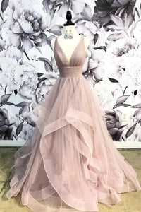 A Line Deep V Neck Ruffles Prom Dresses Long Open Back Cheap Party Dresses XHMPST14805