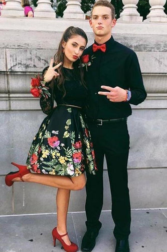 Two Piece Crew Open Back Above-Knee Black Printed Homecoming Dress with XHMPST14228