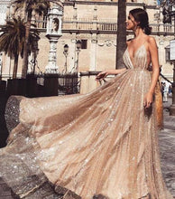 Load image into Gallery viewer, A Line Spaghetti Straps V Neck Gold Prom Dresses Long Backless Evening Dresses XHMPST14842