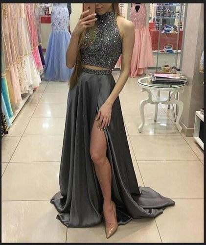 Two Pieces Beaded Gray Front Split Long Modest Prom Dresses Sparkly Prom XHMPST14261