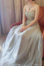 Load image into Gallery viewer, Sweetheart A line Beads Strapless Grey Tulle Lace up Prom Dresses Party XHMPST14164
