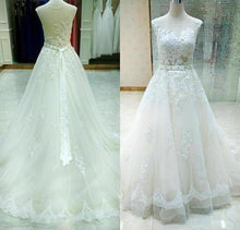 Load image into Gallery viewer, Sheer Castle Ivory Ball Illusion Back Appliques Lace Chapel Train Wedding XHMPST13782