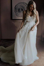 Load image into Gallery viewer, Strapless Beads Tulle Ivory Wedding Dresses V Neck Lace Appliques Beach Wedding XHMPST14098