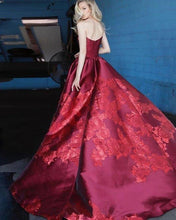 Load image into Gallery viewer, Unique A Line Strapless Burgundy Satin Prom Dresses with Appliques Formal Dresses XHMPST15454