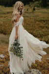 A Line Chiffon Ivory Off the Shoulder Sweetheart Beach Wedding XHMPST10196