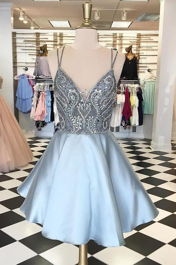 Straps Short Silver Beads Backless V-Neck A-Line Tulle Homecoming XHMPST14118