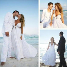 Load image into Gallery viewer, Sexy Deep V Neck White Chiffon Beach Elegant A-Line Bridal Floor-Length Wedding XHMPST13569