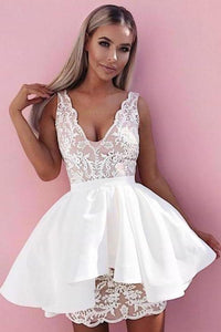 Sexy Lace V Neck Above Knee Sheath Homecoming Dresses with Satin Short Prom XHMPST13600