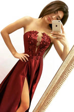 Load image into Gallery viewer, Elegant A line Strapless V Neck Burgundy Beads Prom Dresses with Slit Party XHMPST20412