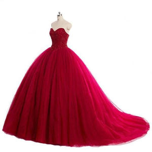 New Style Red Tulle Lace up Sweetheart Strapless Beads Ball Gown Prom Quinceanera XHMPST13051