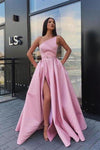 Elegant Strapless Satin High Slit Prom Dresses Long Simple Evening Dresses XHMPST15204