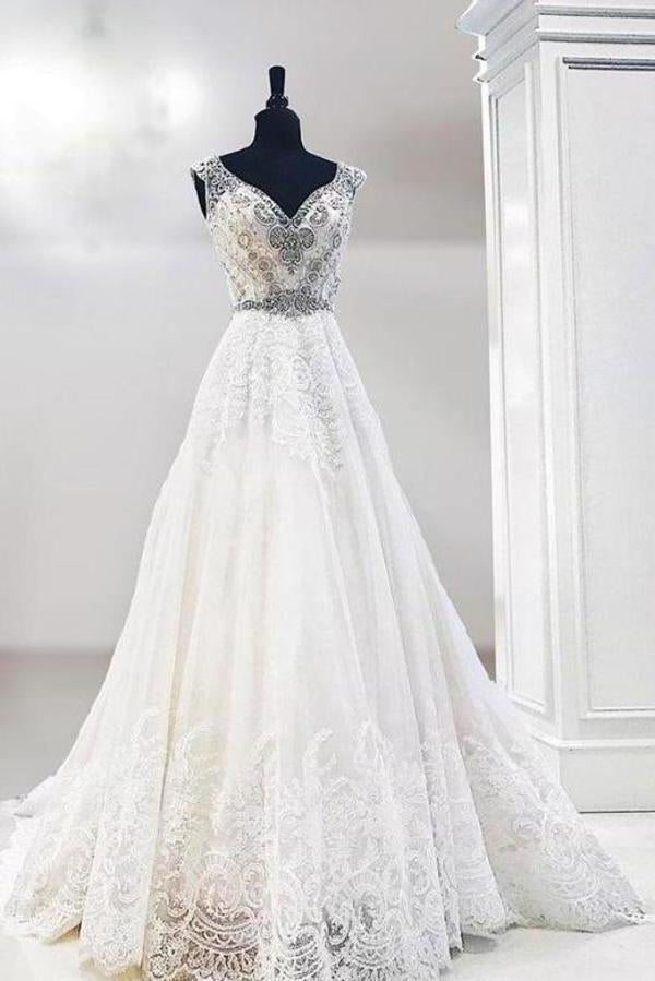 Unique V Neck Cap Sleeve Ivory Lace Beads Wedding Dresses Beach Wedding XHMPST14387