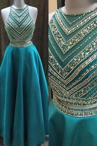 Two Pieces Beaded Crew Neck Prom Dress-Zipper-up Satin Long Prom XHMPST14259