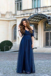 Sexy Off-the-Shoulder Chiffon Half Sleeve Sweetheart Navy Blue Floor Length Prom XHMPST13647