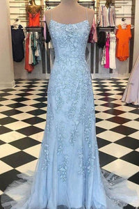 Mermaid Spaghetti Straps Light Blue Prom Dress with Appliques Evening Dresses XHMPST15266