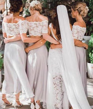 Load image into Gallery viewer, Two Pieces Lace Top Short Sleeve Off-the-Shoulder Beach Affordable Bridesmaid XHMPST14276
