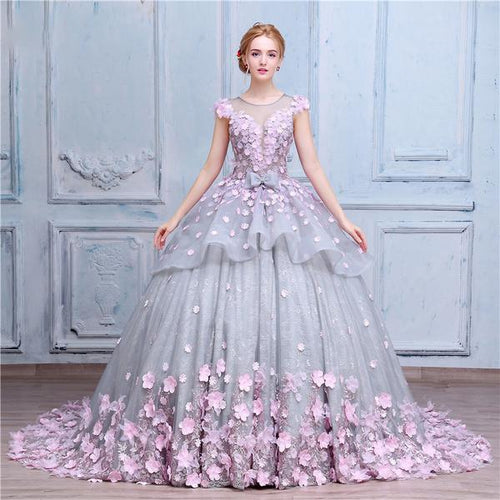 Pretty Flowers Quinceanera Dresses Ball Gown Long Backless Wedding XHMPST13224