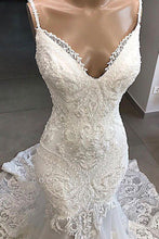 Load image into Gallery viewer, Charming Spaghetti Straps Lace Appliques Tulle Mermaid Wedding XHMPST20458