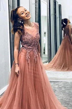 Load image into Gallery viewer, A Line Beaded Long Rosy Brown Tulle Prom Dresses Round Neck Evening Dresses XHMPST14991