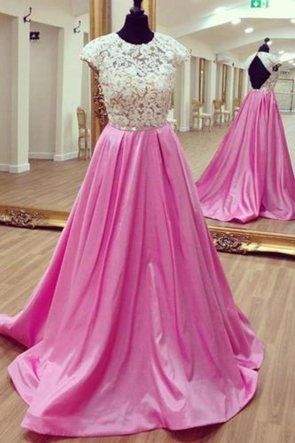 White lace open back long rosy satin prom dress lace XHMPST14497