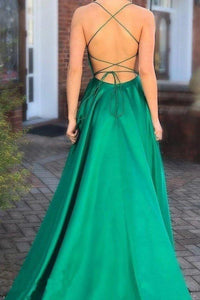 Elegant A Line Green Lace up Prom Dresses with Pockets Slit Formal Evening XHMPST15634
