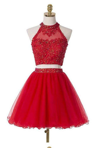 Two Pieces Scoop Halter Short Red Beaded Homecoming Dress with Appliques Sequins XHMPST14779