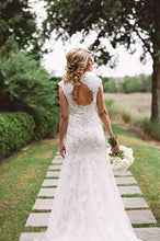 Load image into Gallery viewer, Sexy V Neck Back Hole Full Lace Mermaid Ivory Wedding Dresses Bridal XHMPST13730