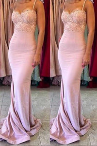 Stylish Mermaid Spaghetti Straps Satin Long Pink Bridesmaid Dresses with Lace XHMPST14151
