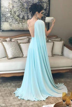 Load image into Gallery viewer, A Line Chiffon One Shoulder Ruffles Green Formal Dresses Long Prom XHMPST10200