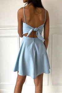 Simple Spaghetti Straps Light Blue Satin Homecoming Dresses Cute Short Prom XHMPST13954