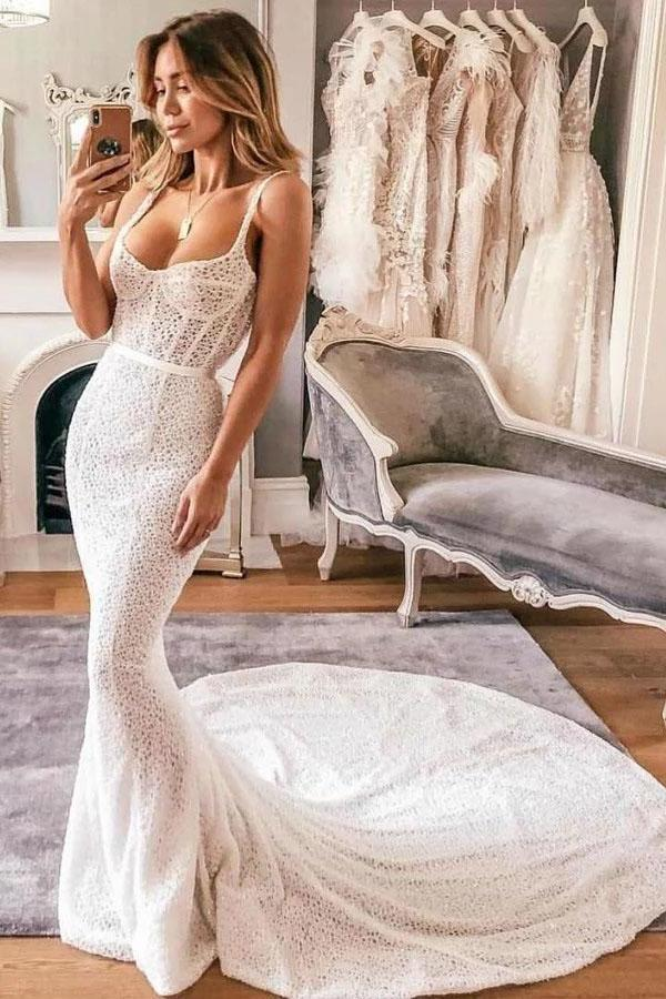Sexy Mermaid Spaghetti Straps Lace Sweetheart Wedding Dresses Bridal Dresses XHMPST15530