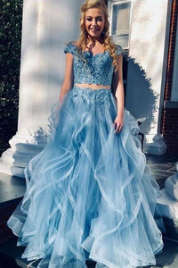 A Line Blue Lace Off the Shoulder Tulle Ruffled Beaded Two Piece Prom XHMPST10151