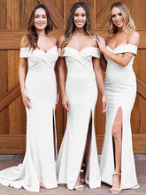 Load image into Gallery viewer, Simple Off-the-shoulder Sheath Sweep Train Split Front Bridesmaid Dresses XHMPST14757