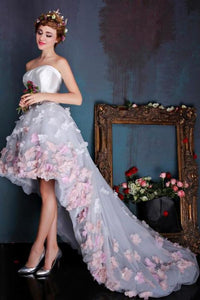 Charming Sweetheart Flowers Strapless Tulle Asymmetry Prom Dresses Wedding Dresses uk XHMPST14874