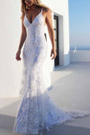 Sexy Backless Off White Mermaid Lace V Neck Wedding Dresses Long Prom XHMPST13523