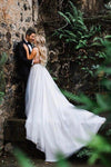 Elegant A Line Illusion Beads V Neck Tulle Long Backless Wedding Dresses Prom Dresses XHMPST15510