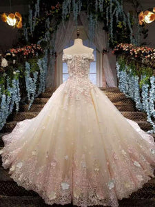2020 Gorgeous Wedding Dresses Lace Up Off The Shoulder With Appliques And Handmade XHMPST14580