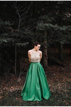 Load image into Gallery viewer, A Line Halter Emerald Green Beaded Prom Dresses Backless Satin Long Prom XHMPST10278