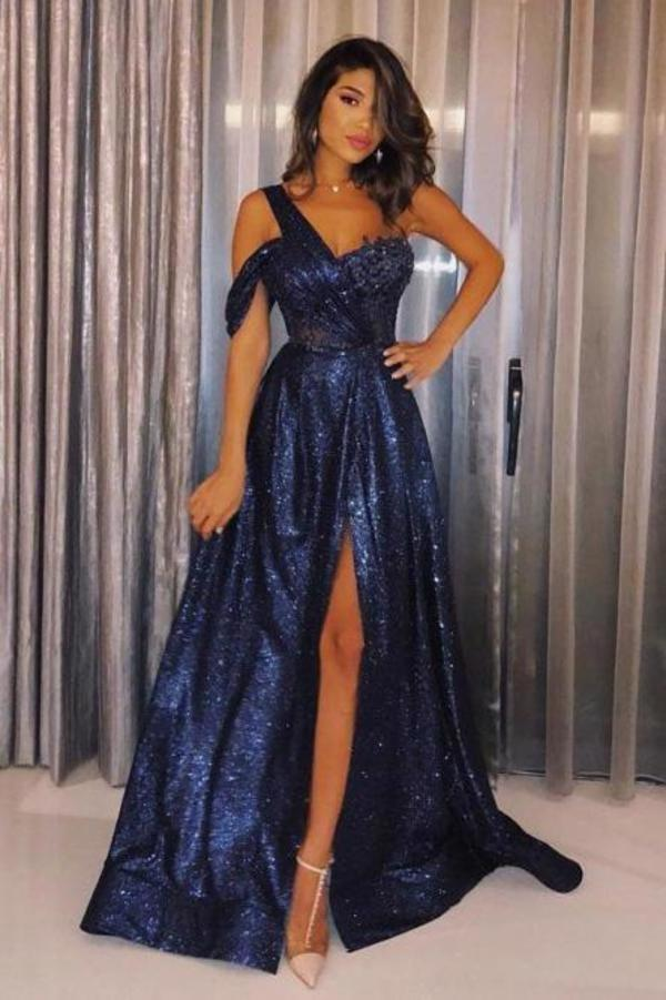 Sexy One-Shoulder Prom Dresses A Line Navy Blue Sequined Cheap Prom Dress with XHMPST13649