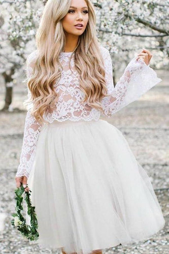 Simple Long Sleeve Lace Two Piece Short Prom Dresses Ivory Homecoming XHMPST13920