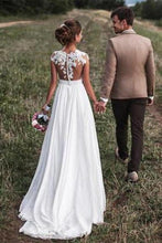 Load image into Gallery viewer, 2020 Lovely Off White Lace Appliques Cap Sleeves Long Chiffon Beach Wedding Dresses XHMPST14586