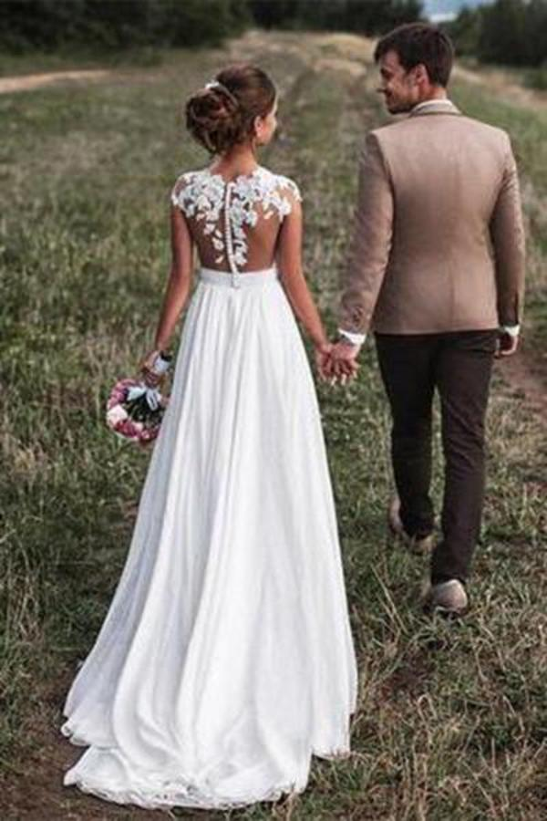 2020 Lovely Off White Lace Appliques Cap Sleeves Long Chiffon Beach Wedding Dresses XHMPST14586