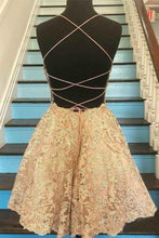Load image into Gallery viewer, Spaghetti Strap Vintage Gold Lace Applique Criss Cross Short Homecoming Dresses XHMPST14955