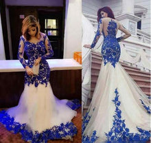 Load image into Gallery viewer, Mermaid Royal Blue Scoop Appliques Tulle Prom Dresses Long Evening XHMPST20464