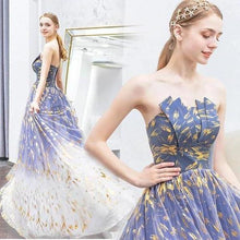 Load image into Gallery viewer, Charming Ombre Puffy Strapless Sparkly Prom Dress Sexy Long Sleeveless Party Dresses XHMPST15118